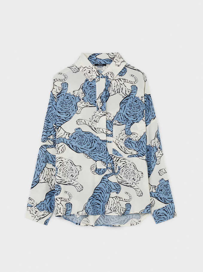Flowing Animal Print Shirt, White, hi-res
