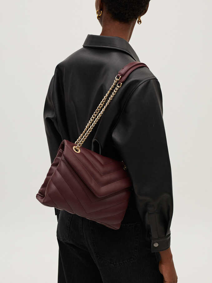 Quilted Crossbody Bag With Contrast Strap, Bordeaux, hi-res