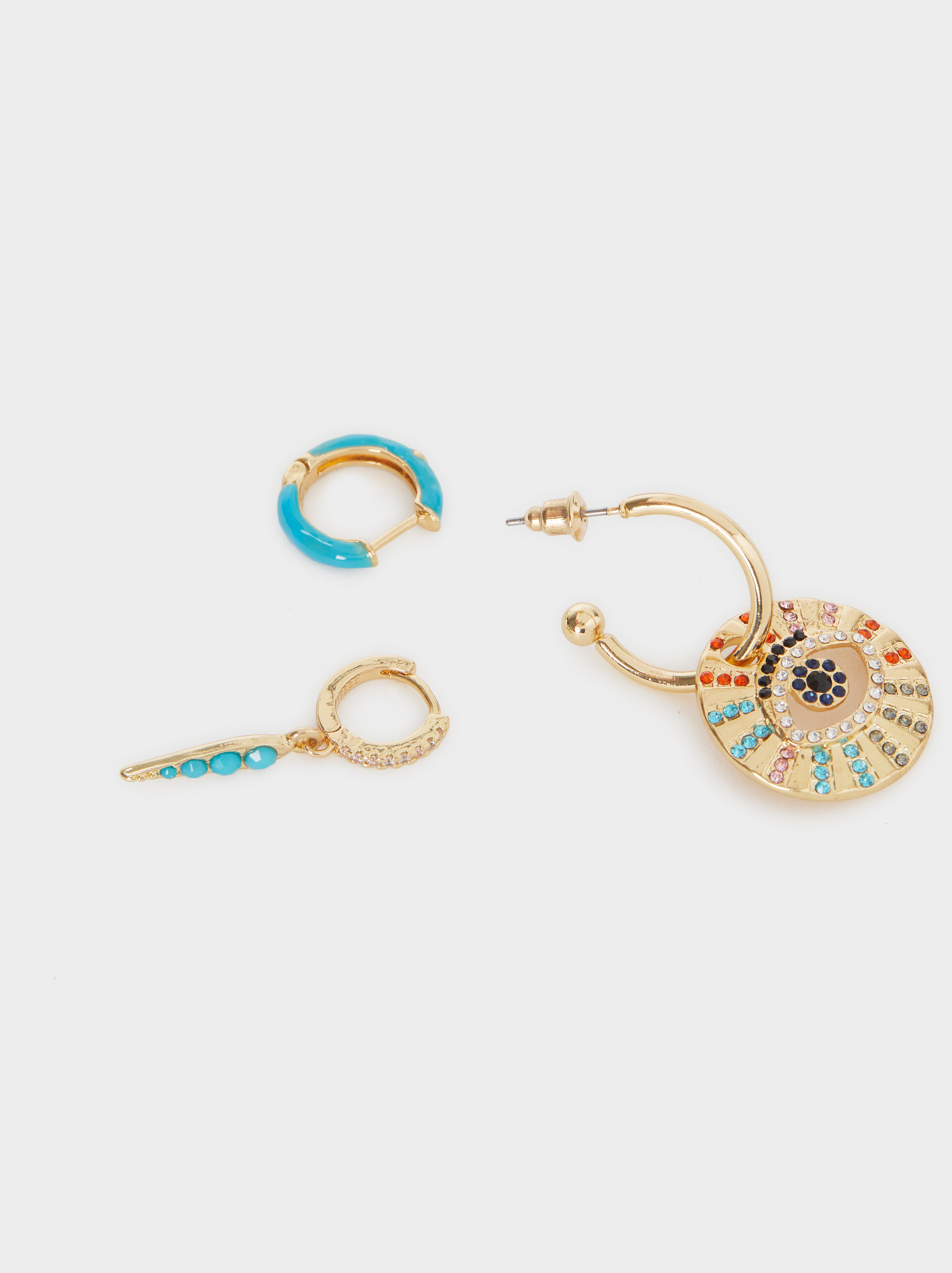 Medium Hoop Earrings With Eye And Multicolour Crystals, Multicolor, hi-res