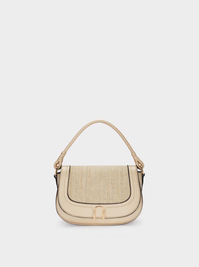 Woven Crossbody Bag, Golden, hi-res