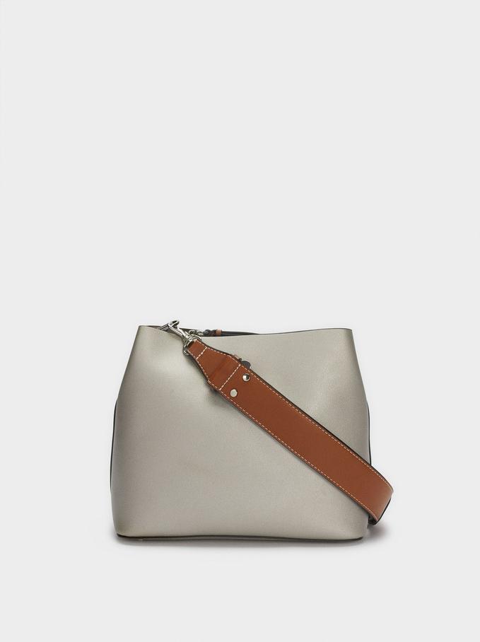 Shoulder Bag With Removable Shoulder Strap, Silver, hi-res