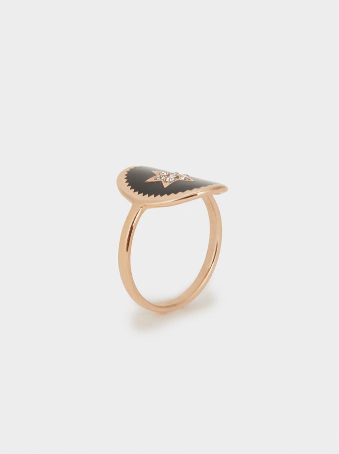 Star Steel Ring, Orange, hi-res