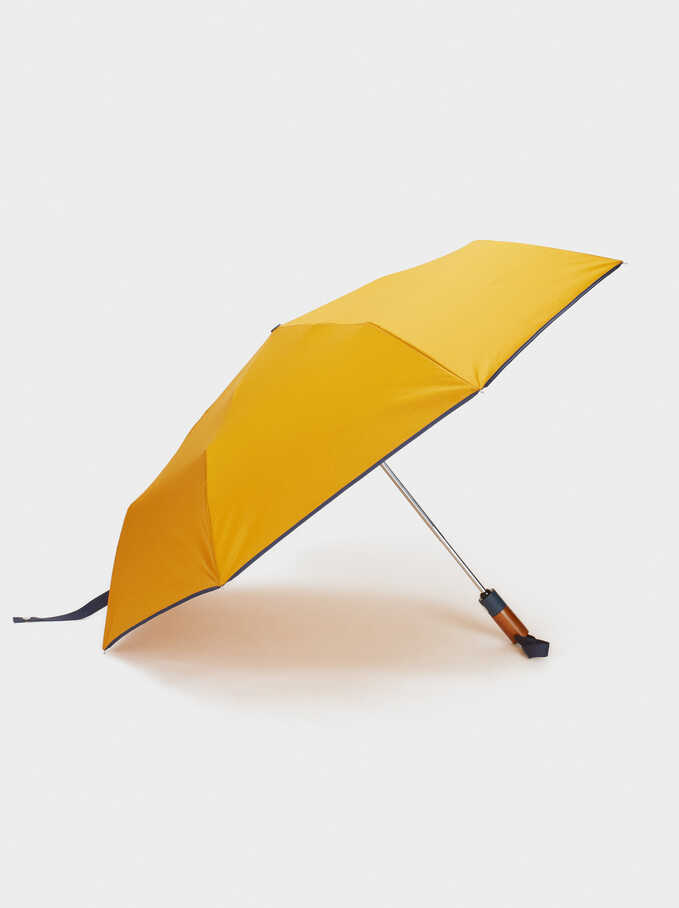 Small Umbrella With Wood Detail, Mustard, hi-res
