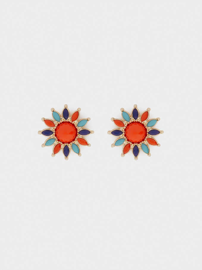 Flower Studs, Multicolor, hi-res