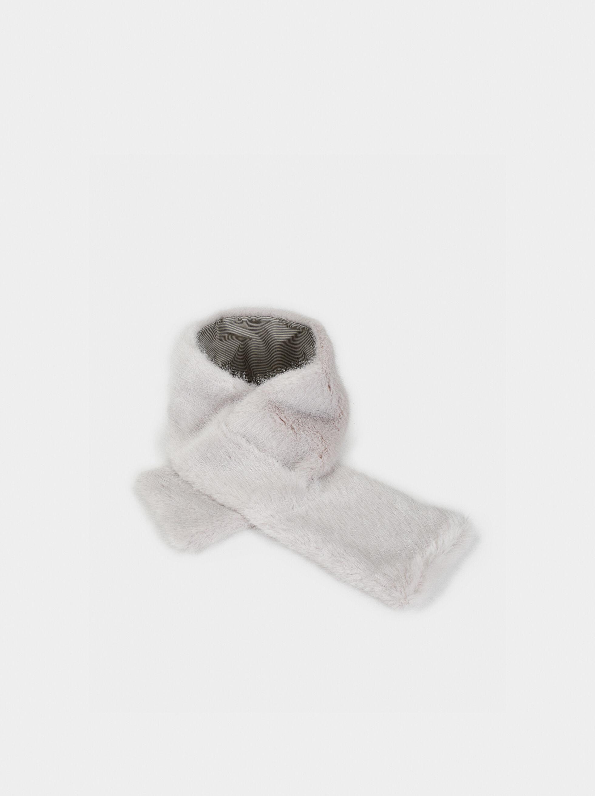 Faux Fur Stole, Grey, hi-res