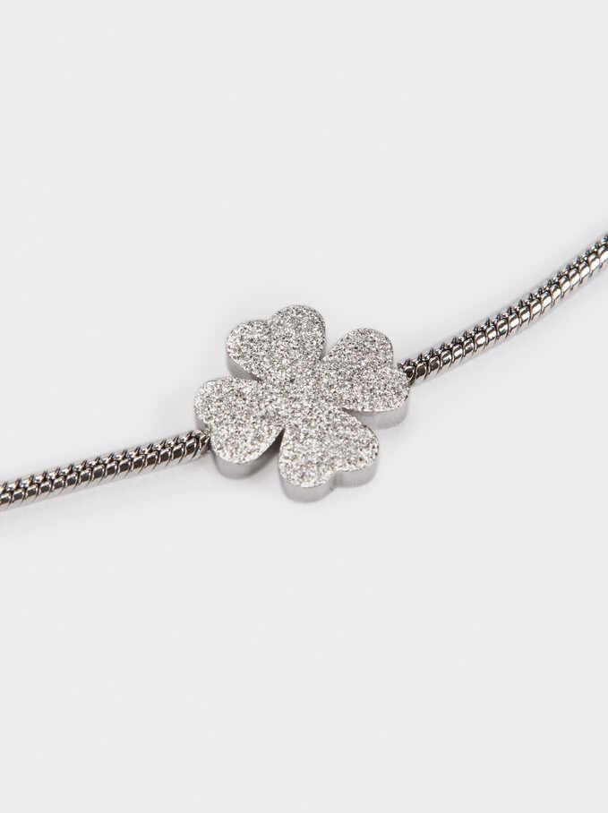Steel Shamrock Bracelet, Silver, hi-res