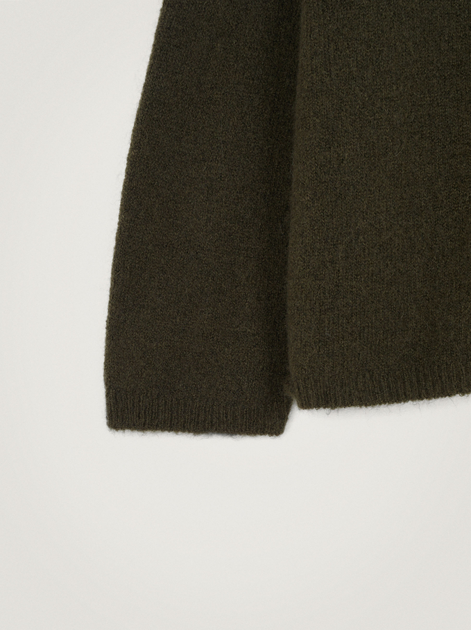 Knitted Perkins Neck Sweater, Khaki, hi-res