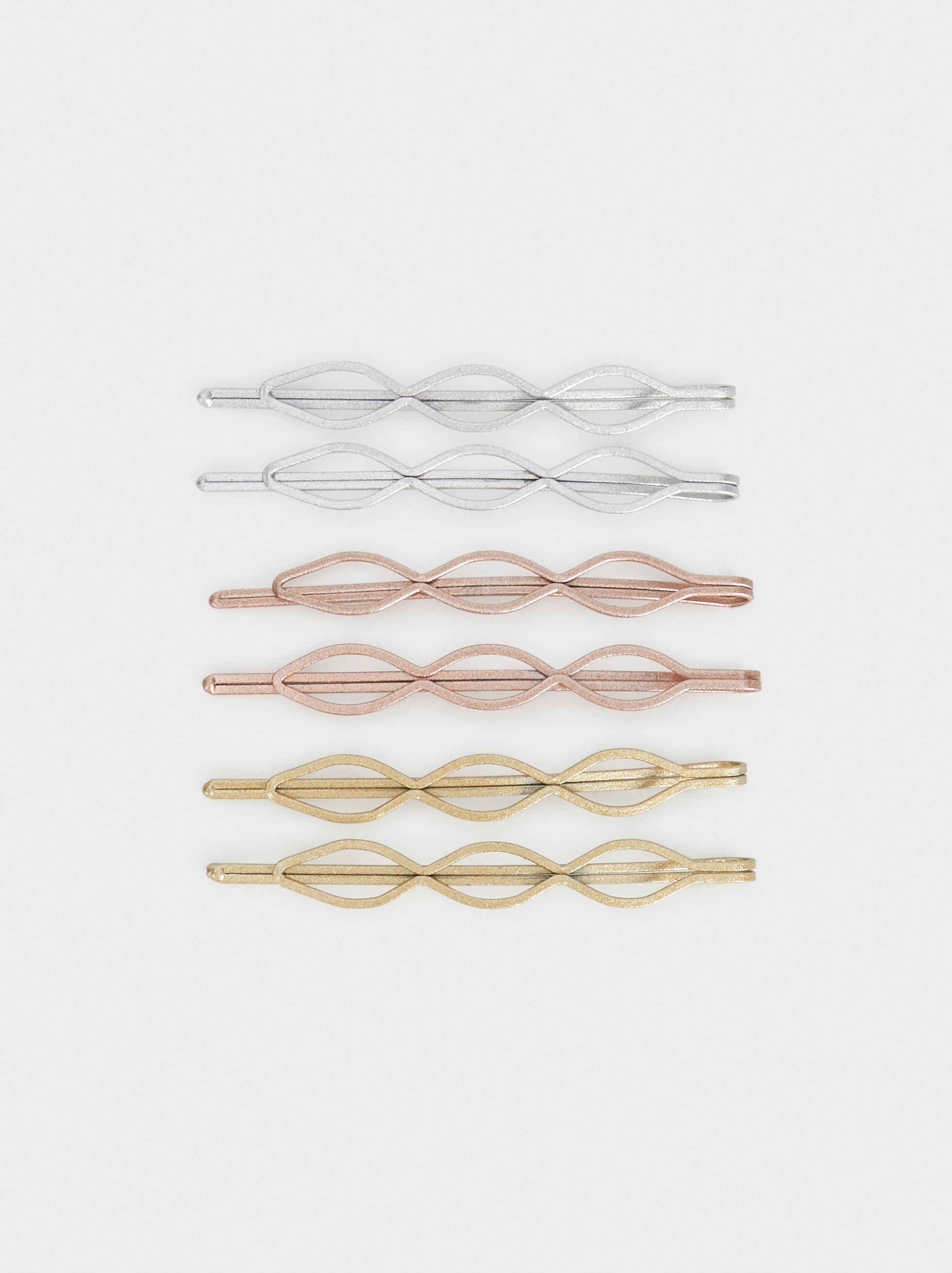 Set Of Metallic Hairslides, Multicolor, hi-res