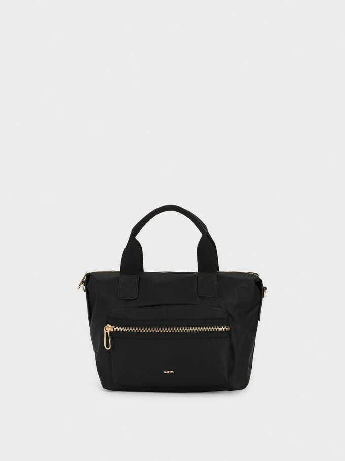 Tote Bag With Crossbody Strap, Black, hi-res
