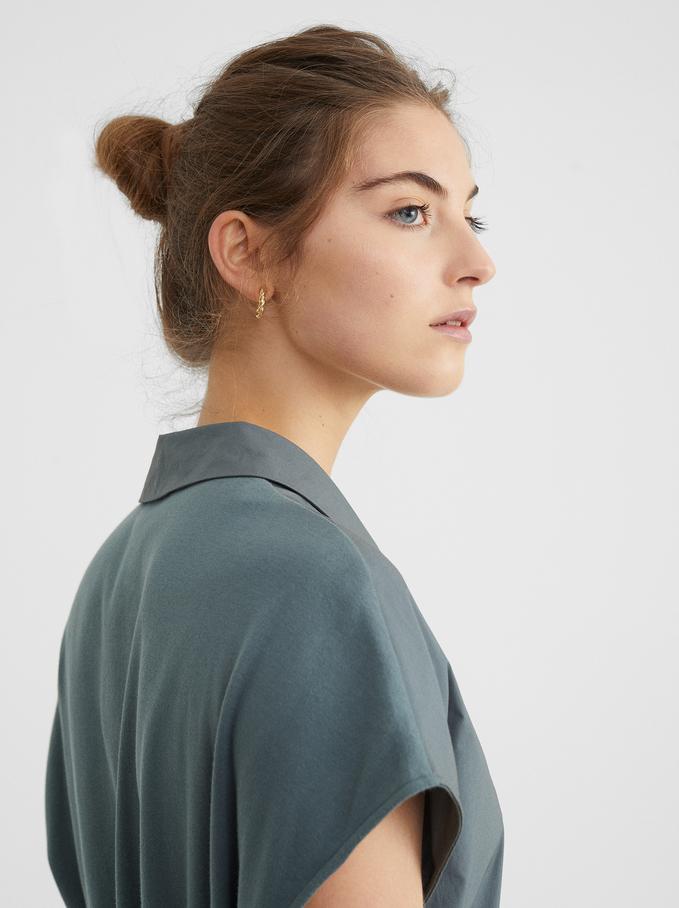 Shirt-Dress With Belt, Green, hi-res