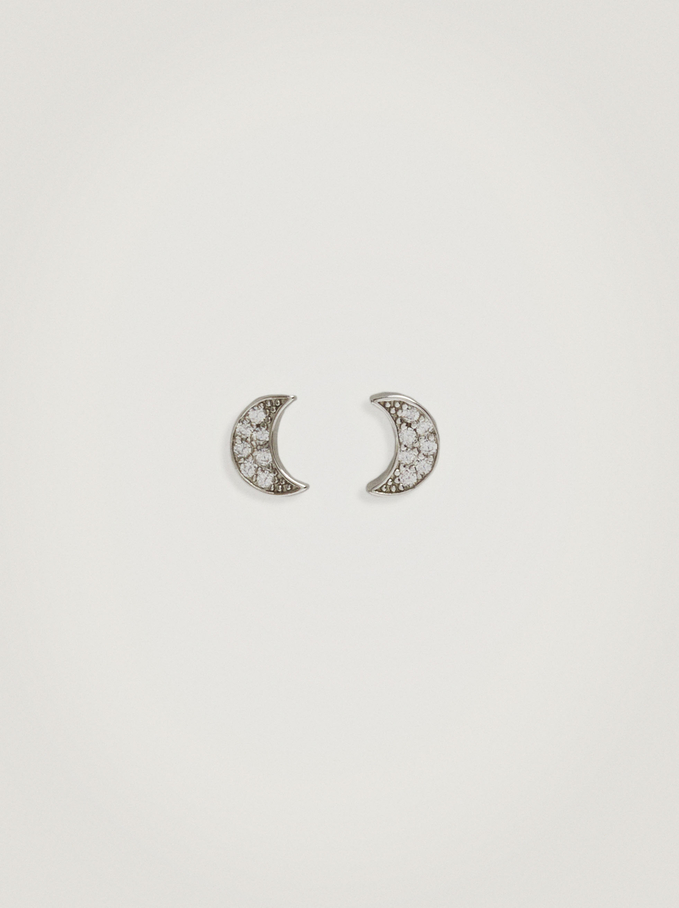 925 Silver Moon Studs With Zirconia, Silver, hi-res