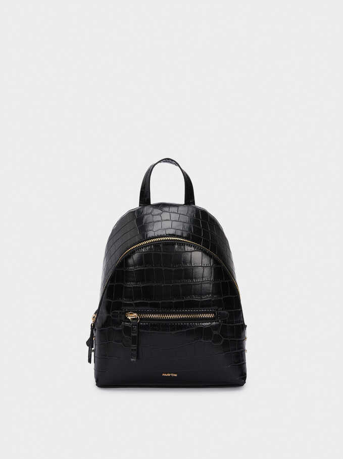 Backpack With Embossed Animal Print And Exterior Pocket, Black, hi-res