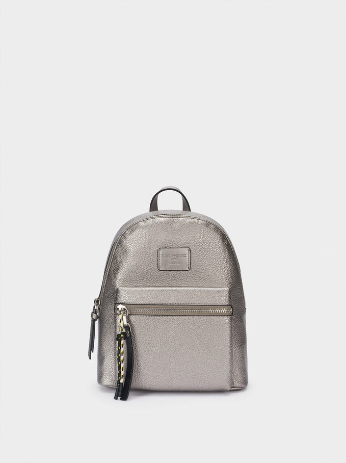 Embossed Backpack With Exterior Pocket, Silver, hi-res