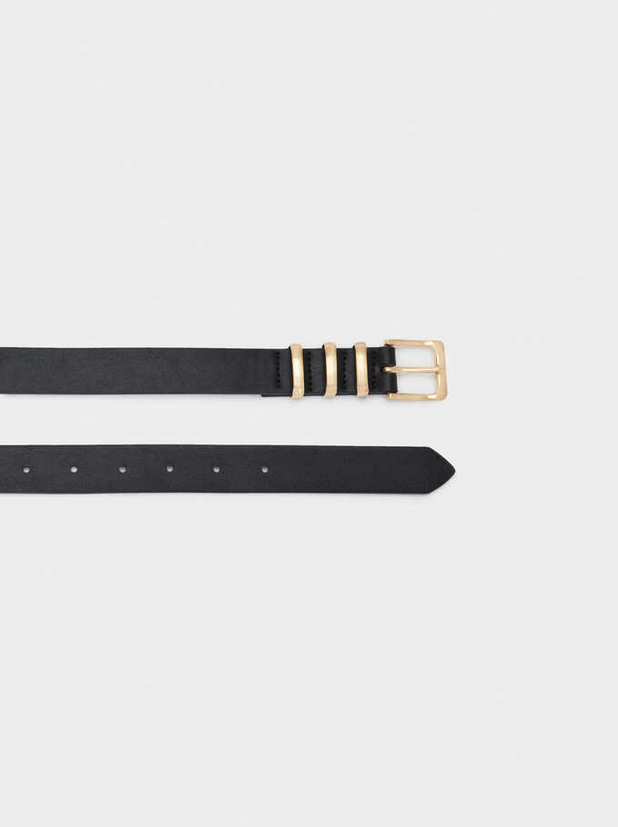 Belt With Gold Buckle, Black, hi-res