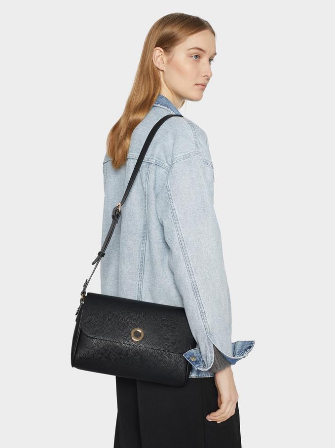Embossed Crossbody Bag, Black, hi-res