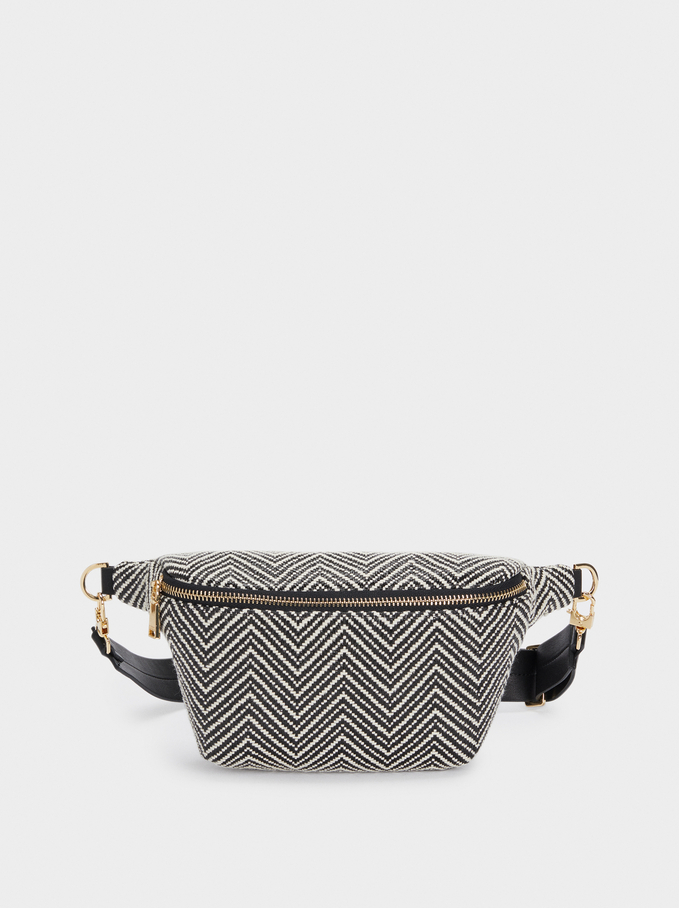 Raffia Belt Bag, Black, hi-res