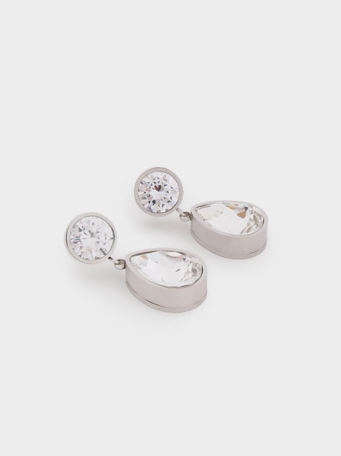 Pendientes De Acero Con Cristales Swarovski, Plateado, hi-res
