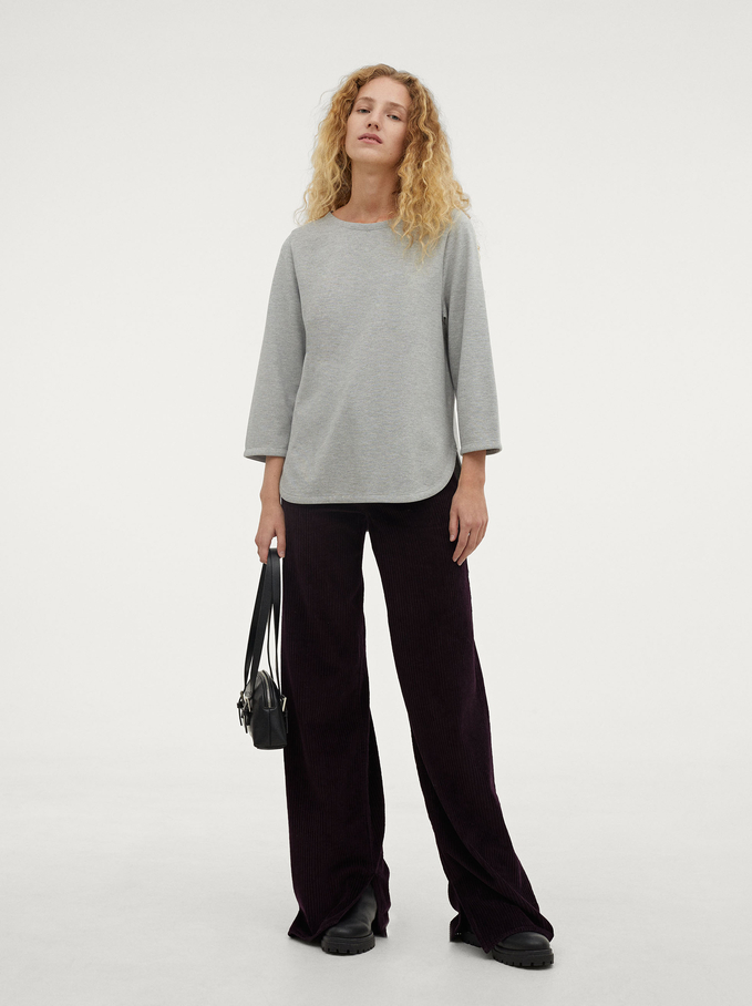 Round Neck T-Shirt, Grey, hi-res