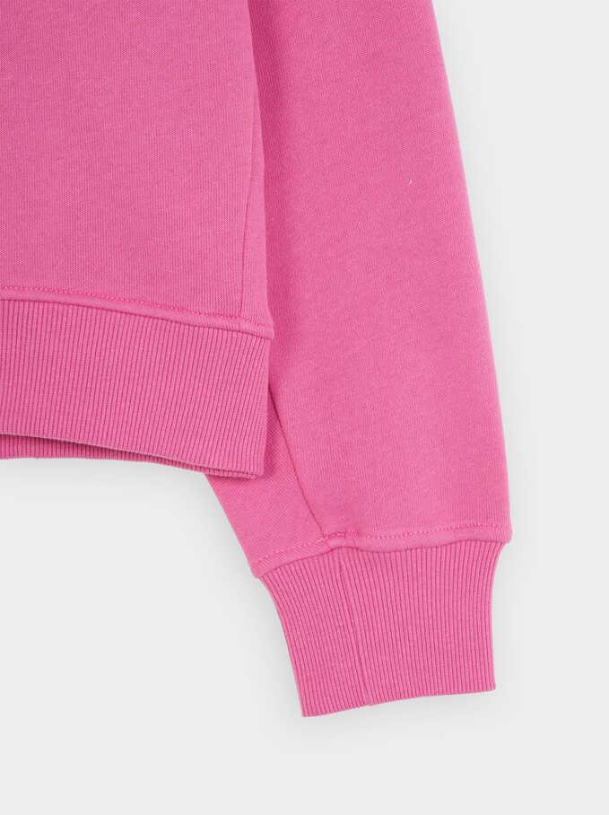 Plain T-Shirt With Round Collar, Pink, hi-res