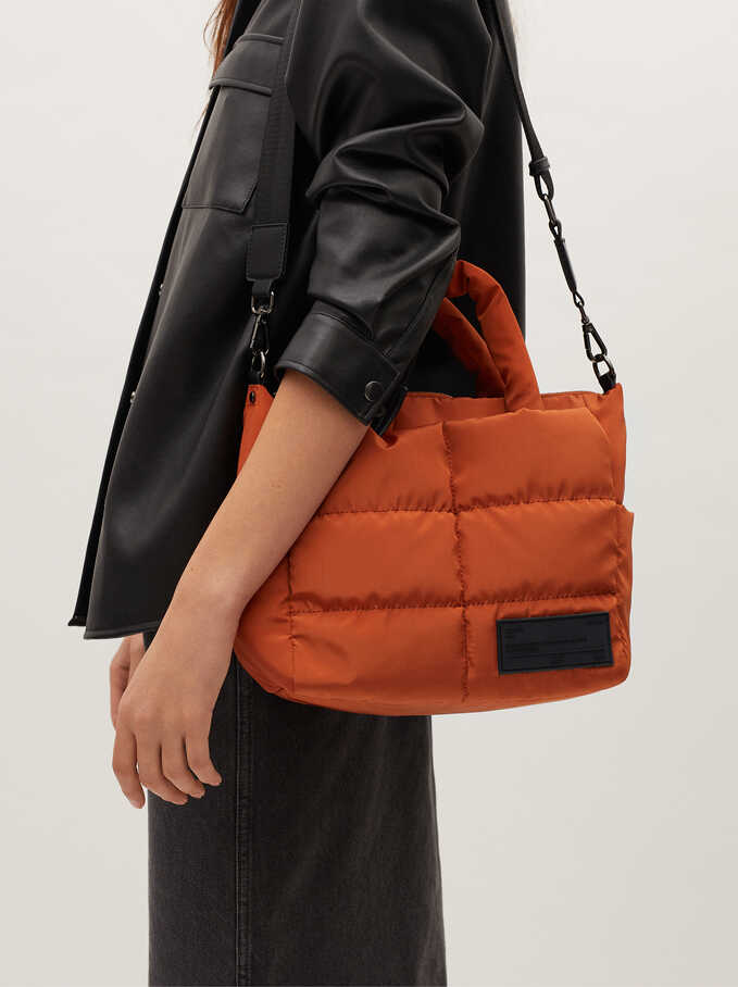 Nylon Quilted Tote Bag, Orange, hi-res