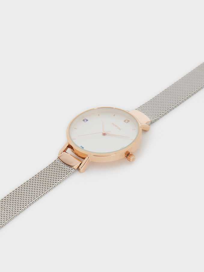 Watch With Fine Metal Mesh Strap, Silver, hi-res