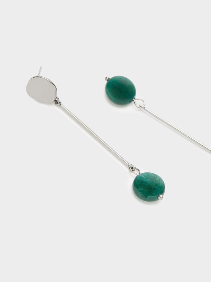 Long Earrings With Multicoloured Gemstones, Green, hi-res