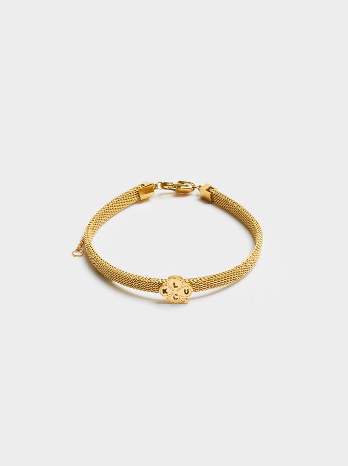 Stainless Steel Bracelet With Shamrock, Golden, hi-res