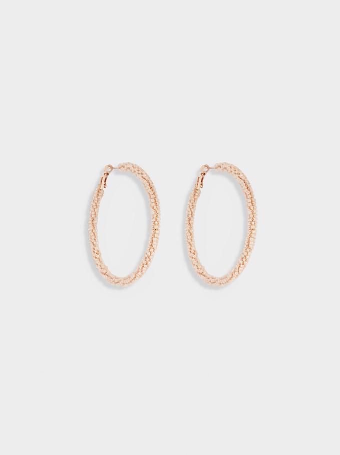 Large Hoop Earrings With Beads, Orange, hi-res
