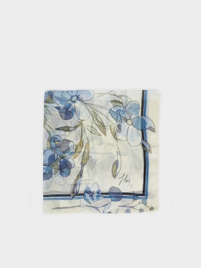 Floral Print Handkerchief, Blue, hi-res