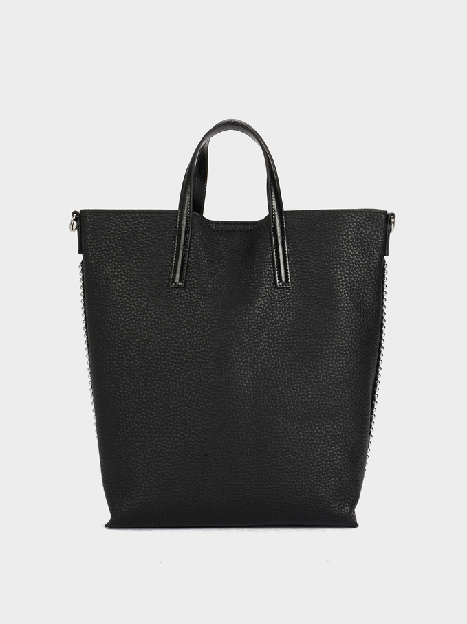 Tote Bag With Removable Shoulder Strap, Black, hi-res