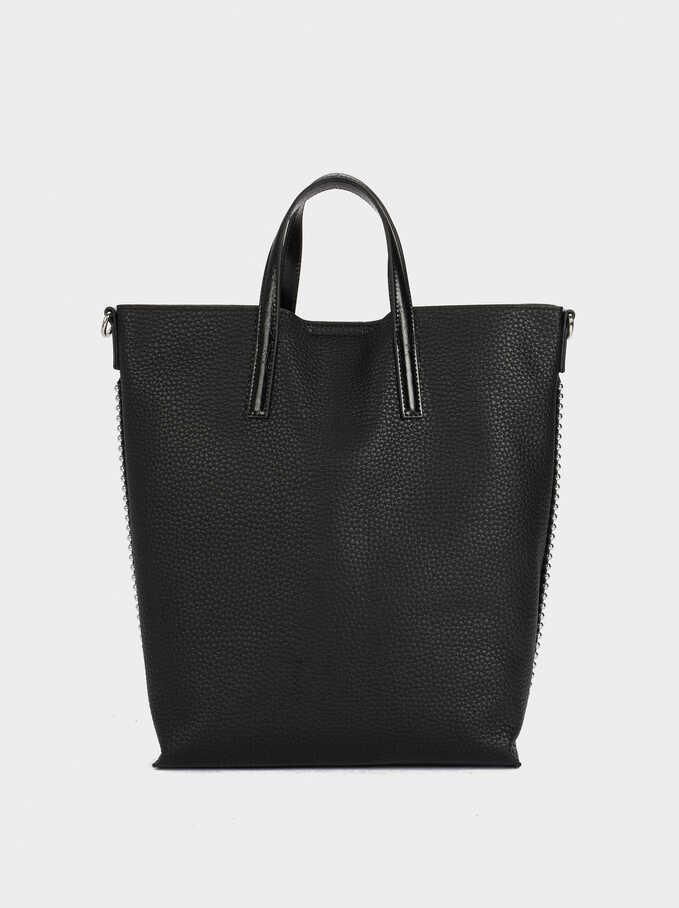 Tote Bag With Removable Shoulder Strap, Black, hi-res