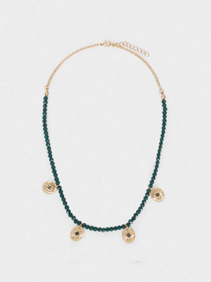 Short Necklace With Crystals And Beads, Green, hi-res
