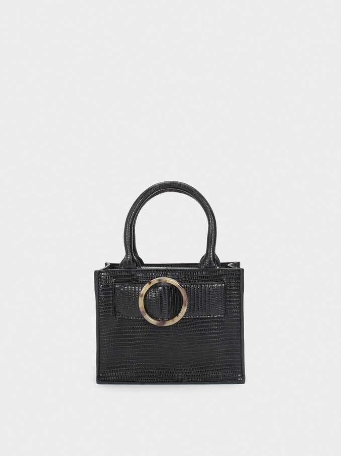 Shoulder Bag With Tortoiseshell Buckle, Black, hi-res