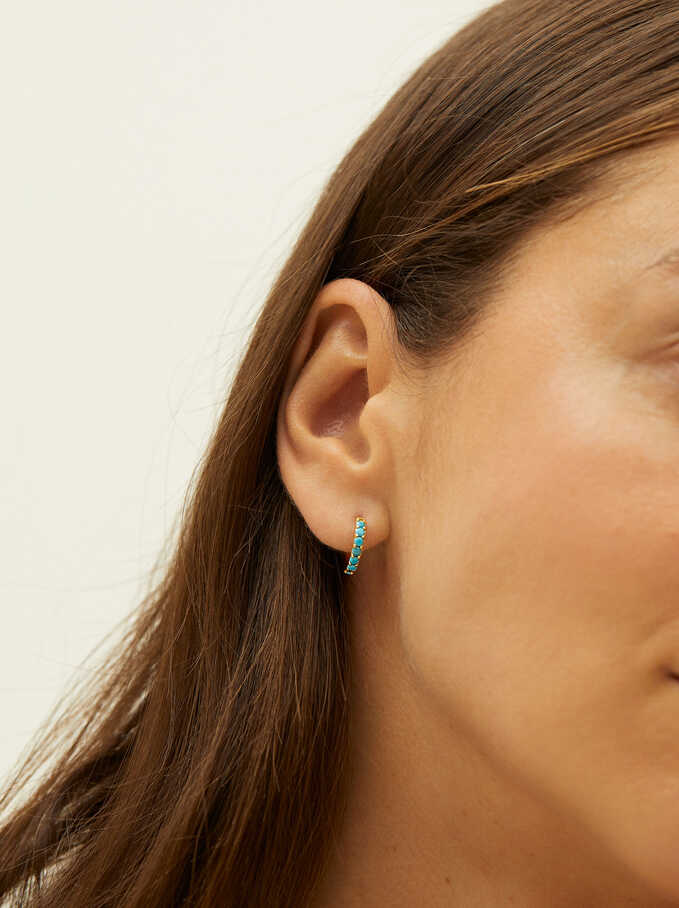 Short 925 Silver Hoops With Zirconia, Blue, hi-res