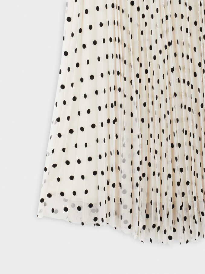 Pleated Polka Dot Print Skirt, Ecru, hi-res