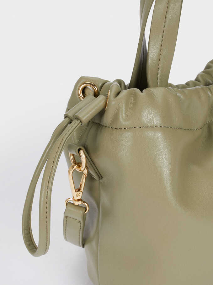 Pleated Tote Bag With Removable Strap, Green, hi-res