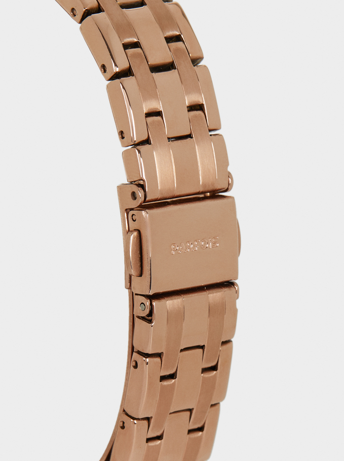 Montre-Bracelet En Acier Avec Cadran Brillant, Orange, hi-res