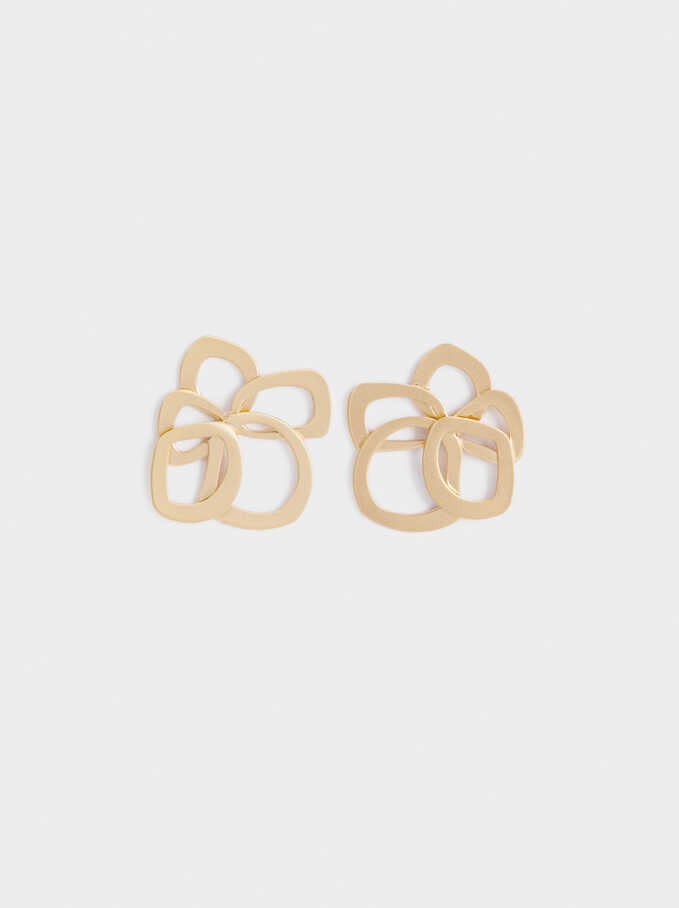 Exclusive Collection Flower Studs, Golden, hi-res