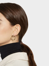 Circular Steel Short Earrings, Golden, hi-res