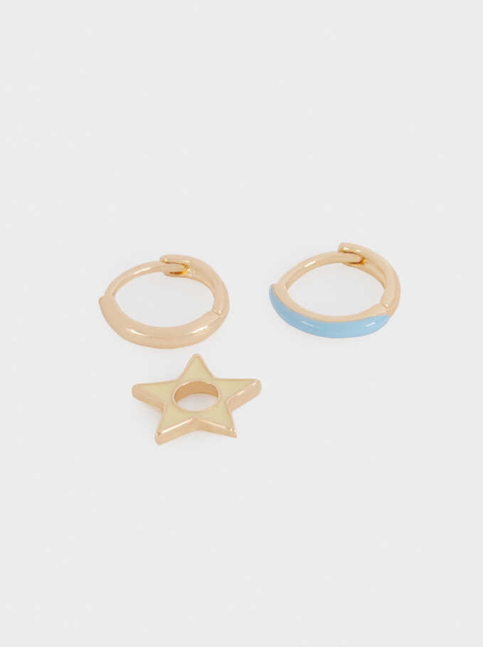 Set Of Small Hoops With Star, Multicolor, hi-res