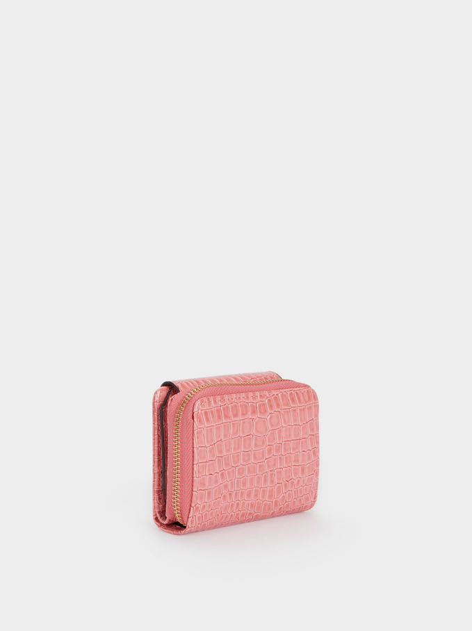 Embossed Animal Print Compact Purse, Pink, hi-res
