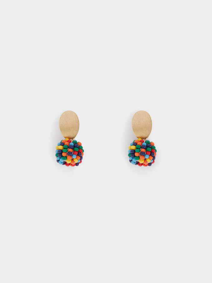 Short Earrings With Beads, Golden, hi-res