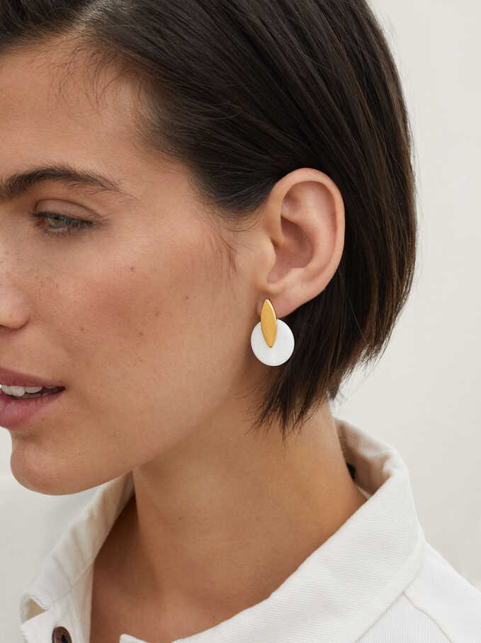 Geometric Earrings, Golden, hi-res