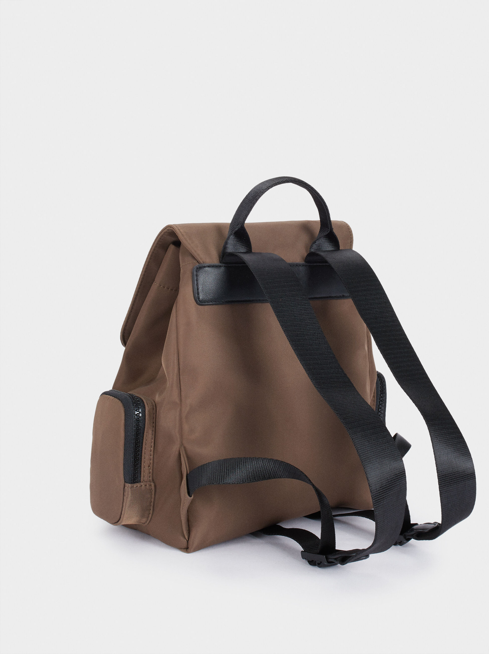 Nylon Backpack With Outside Pockets, Brown, hi-res