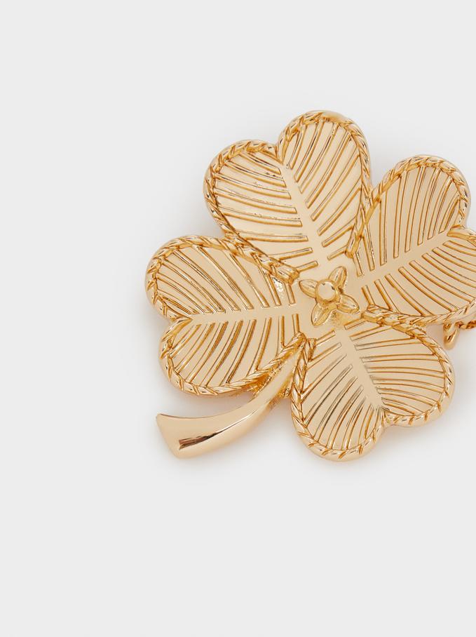 Clover Brooch, Golden, hi-res