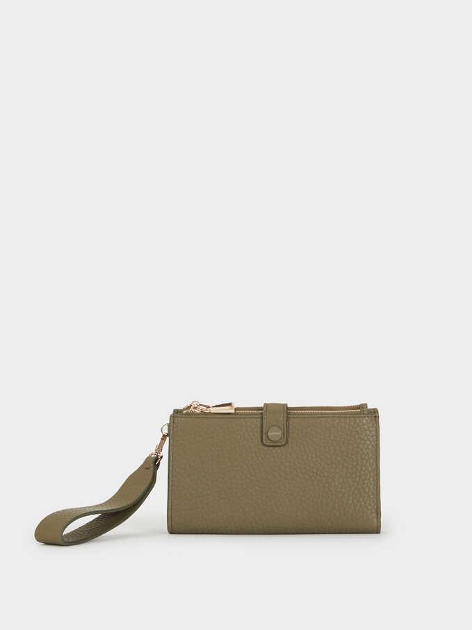 Large Faux Leather Purse, Khaki, hi-res