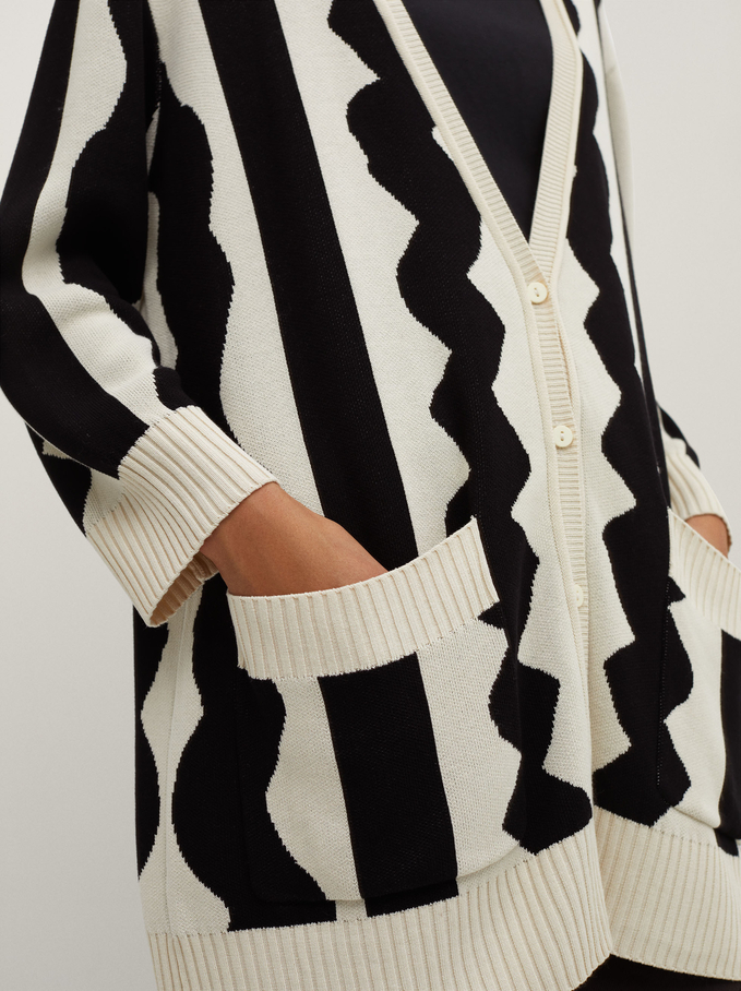 Knit Cardigan With Pockets, Ecru, hi-res