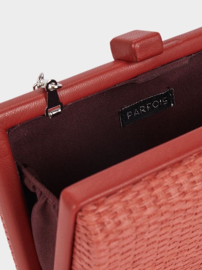 Straw Finish Clutch, Brick Red, hi-res