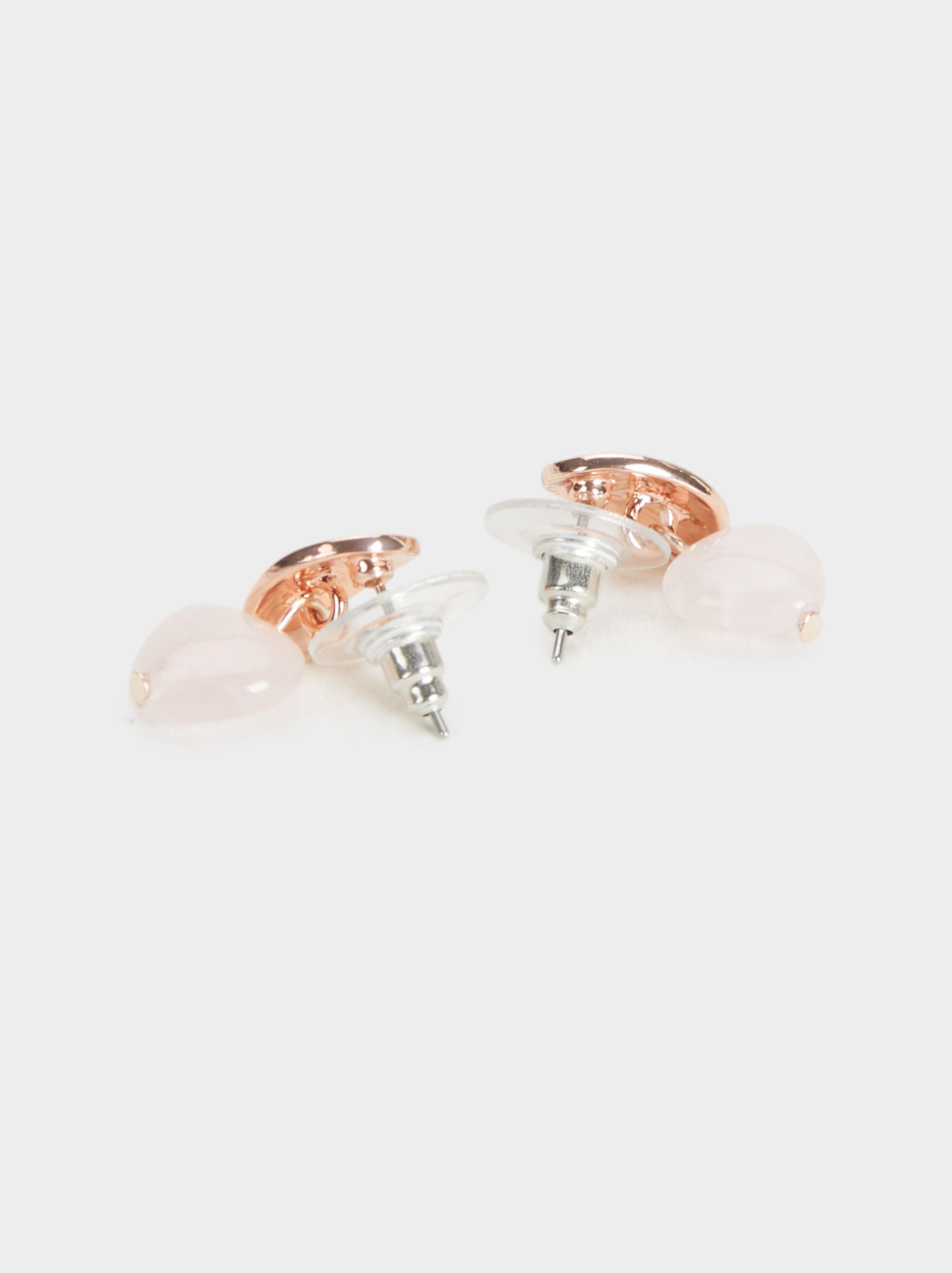 Pink Desert Short Earrings With Sphere, Orange, hi-res