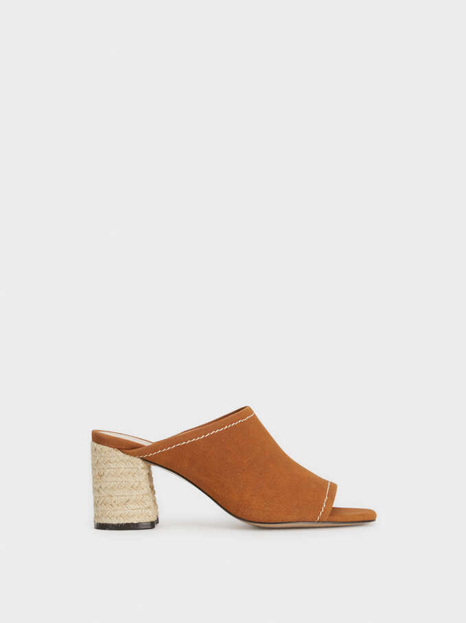 Faux Suede Mules With Jute Heels, Camel, hi-res